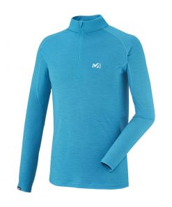 178 247x296 - بلوز لایه اول میلت – رنگ آبی – Millet C Wool Blend 150 Zip LS – miv 7003